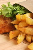 Fish and chips with organic salad Royalty Free Stock Image