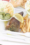 Fish and chips on paper plate takeout. Fish and chips with coleslaw, lemon and herb butter on paper plate takeout Royalty Free Stock Photo