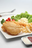 Fish and chips. A plate of fish and chips Royalty Free Stock Photos