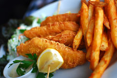 Fish and Chips. A plate of fish and chips Stock Photo