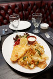 Fish and chips in plate Royalty Free Stock Photography