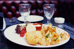 Fish and chips in plate Stock Photo