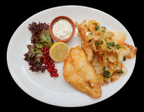 Fish and chips in plate, isolated Royalty Free Stock Photos