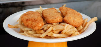 Fish and Chips. A Plate of Fish and Chips served at a local County Fair Stock Photography