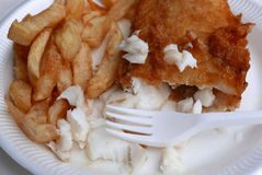 Fish and chips on plate Royalty Free Stock Photography