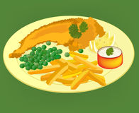 Fish and chips on a plate vector. Fish, chips and peas on a yellow plate, vector Stock Images