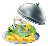 Fish and chips platter. An illustration of fish chef mascot and chips on a silver serving platter Royalty Free Stock Photography