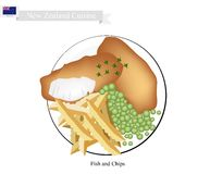 Fish and Chips, A Popular Dish of New Zealand. New Zealand Cuisine, Illustration of Traditional Fish and Chips. A Famous Take Away Food in New Zealand Stock Photo