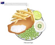Fish and Chips, A Popular Dish of New Zealand. New Zealand Cuisine, Illustration of Traditional Fish and Chips. A Famous Take Away Food in New Zealand Royalty Free Stock Image