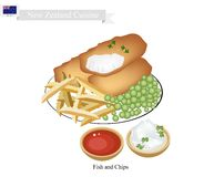 Fish and Chips, A Popular Dish of New Zealand. New Zealand Cuisine, Illustration of Traditional Fish and Chips. A Popular Take Away Food in New Zealand Stock Photo