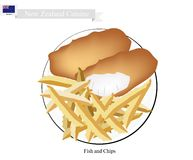Fish and Chips, A Popular Dish of New Zealand. New Zealand Cuisine, Illustration of Traditional Fish and Chips. A Popular Take Away Food in New Zealand Stock Photography