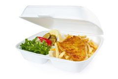 Fish and chips. Portion from fast food service , isolated on white Royalty Free Stock Images