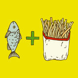 Fish and Chips. Poster on Yellow Background Royalty Free Stock Photo