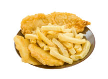 Fish, Chips and Potato Cakes. Isolated over white backgorund stock photos