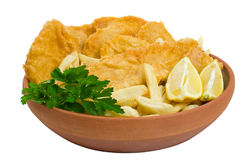 Fish, chips and potato cakes over white Stock Photography