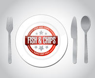Fish and chips restaurant concept illustration. Design over grey Royalty Free Stock Images