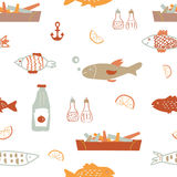 Fish  and chips seamless pattern - sketchy  Royalty Free Stock Photos