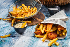 Fish & Chips served in the newspaper Royalty Free Stock Image