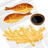 Fish and chips served with sauce vector illustration. Fish and chips served with sauce in brown bowl. Meat and fired potato takeaway meal to eat outside Stock Images