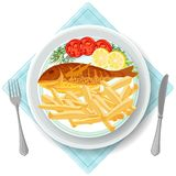 Fish and chips served with vegetables vector illustration. Fish and chips served with vegetables tomatoes and lemon slices. Traditional English British breakfast Stock Photography