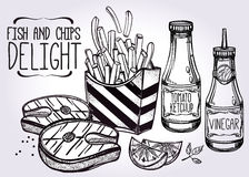 Fish and Chips Set . Stock Images