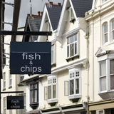 Fish and chips shop  sign Stock Photography