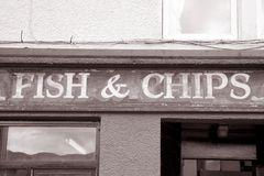 Fish and Chips Sign Royalty Free Stock Images