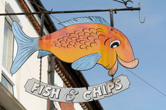 Fish and chips shop sign. Colourful fish and chips shop sign Royalty Free Stock Image