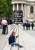 Fish and Chips Sign Royalty Free Stock Photo