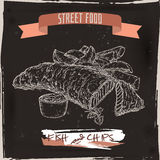 Fish and chips sketch on black grunge background. British cuisine. Street food series. Great for market, restaurant, cafe, food label design Royalty Free Stock Photography