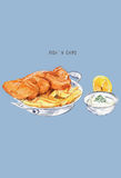 Fish and chips sketch .British cuisine. Street food series. Grea. T for market, restaurant, cafe, food label design Stock Photo