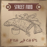 Fish and chips sketch on grunge background. British cuisine. Street food series. Great for market, restaurant, cafe, food label design Stock Images