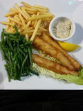 Fish and Chips with Tartare Sauce Stock Photography