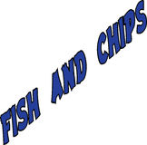 Fish and Chips text. On white background Royalty Free Stock Photo