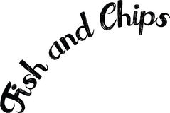 Fish and Chips text. On white background Stock Photos