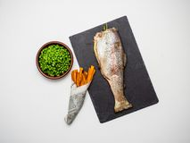 Fish and chips. Trout, top stock image