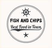 Fish and Chips Vintage Menu Design Stamp stock image