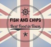Fish and Chips Vintage Menu Design Stamp stock photo