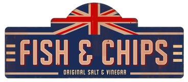 Fish and Chips Vintage Sign Tin Metal English British London. Fish & Chips Vintage Sign Tin Metal English British London Salt and Vinegar style retro restaurant royalty free illustration