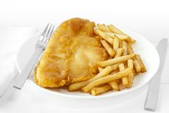 Fish and Chips on White royalty free stock photography