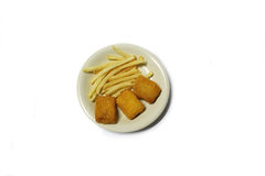 Fish & Chips on white dish with white background Royalty Free Stock Photography