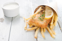 Fish and chips wrapped in cone Stock Photo