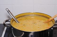 Fish chowder in a large pan. Royalty Free Stock Image