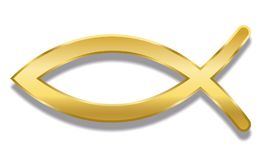 Fish Christian Symbol Ichthys Golden Style. Jesus fish. Golden Christian symbol consisting of two intersecting arcs. Also called ichthys or ichthus, the Greek Stock Image