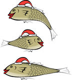 Fish with Christmas cap. Fish with red lips wearing the Christmas cap Stock Image