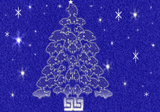 Fish Christmas Tree. Blue Christmas tree made up of various sized swimming fish and snow falling vector illustration