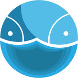 Fish in a circle with a wave. Logo fish in a circle with a wave Stock Image