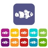 Fish clown icons set flat Royalty Free Stock Photo