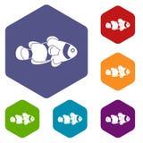 Fish clown icons set hexagon. Isolated vector illustration Royalty Free Stock Photo