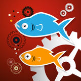 Fish and Cogs - Gears. Vector Illustration Royalty Free Stock Image